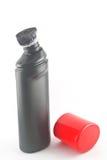 Black plastic bottle. Black plastic bottle red cap  on white background Royalty Free Stock Photo
