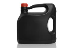 Black plastic bottle red cap Stock Photo