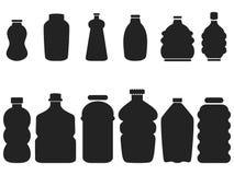 Black plastic bottle set Royalty Free Stock Image