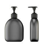 Black plastic bottles with liquid soap Stock Images