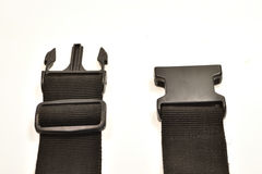 Black plastic buckle on strap Royalty Free Stock Photo