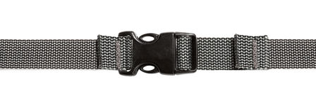 Black plastic buckle on strap Stock Photography
