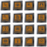 buttons set with pixel drawing terminal icons Stock Photo