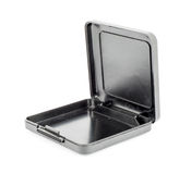 Black plastic casket on white background Royalty Free Stock Photography