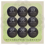 Black plastic circle label infographic elements Stock Photos