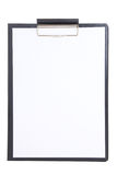 Black plastic clipboard with blank paper sheet isolated on white Royalty Free Stock Image