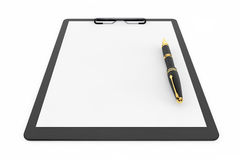 Black Plastic clipboard with Fountain Pen. On a white background Stock Photography