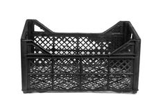 Black plastic crate Royalty Free Stock Images