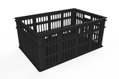 Black plastic crate. Blue plastic crate isolated on white background Royalty Free Stock Image