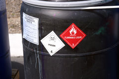 Black plastic drum with hazardous waste Royalty Free Stock Images