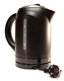 The black plastic electric tea kettle. Electric tea kettle.Close up on a white background stock images
