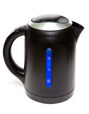 The black plastic electric tea kettle.Close up on a white background. Electric tea kettle.Close up on a white background stock images