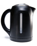 The black plastic electric tea kettle on a white background. Electric tea kettle.Close up on a white background stock image