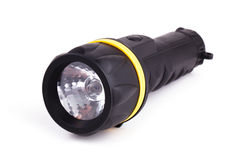 Black plastic flashlight Stock Images