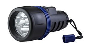 Black Plastic Flashlight with clipping path. Royalty Free Stock Photography