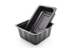 Black Plastic food container Stock Images