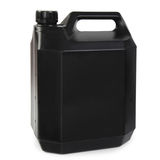 Black plastic gallon. Jerry can isolated on a white background royalty free stock photography