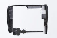 Black plastic hair stylish comb Stock Images