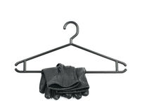 Black plastic hanger isolated Royalty Free Stock Photography