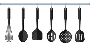 Black plastic Kitchenware isolated on white background. Stock Photography