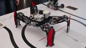 Black plastic mechanical robot spider stock footage