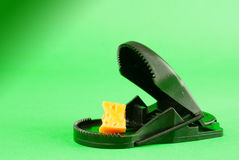Black plastic mousetrap with bait Royalty Free Stock Photos