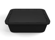 Black plastic packaging for food products. 3d. Black plastic packaging for food products  on white background. 3d rendering Stock Photo