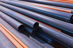 Black  Plastic pipe Stock Photos