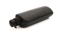 Black plastic pump cosmetic bottle Royalty Free Stock Photos