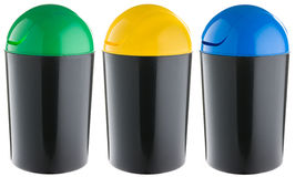 Black plastic selective trash can Royalty Free Stock Photo