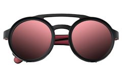Black plastic sunglasses in round frame with Mirror Lens coral gradient isolated on white background. Summer eye glasses top view. Black plastic sunglasses in royalty free stock images