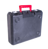 Black plastic tool box on the background Stock Photo