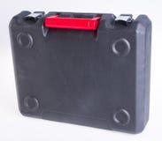 Black plastic tool box on the background. Plastic tool box on background stock photography