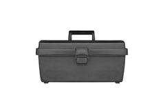 Black plastic tool box isolate. White background royalty free stock photography
