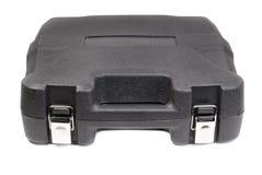 Black plastic tool box. Isolate white background stock photos