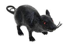 Black plastic toy rat on a white background Royalty Free Stock Photos