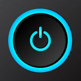 Black plastic vector power button Royalty Free Stock Image