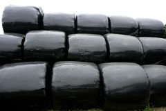Black plastic wrap cover for cereal bales royalty free stock images