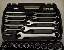 Black plastic wrench toolbox detailed stock photo Royalty Free Stock Photos