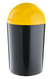 Black Plastic with yellow lid selective trash can for plastic and metal Royalty Free Stock Photography