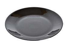 Black plate. Isolated on the white background Stock Image