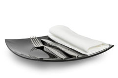 Black plate knife fork and a napkin Stock Photography