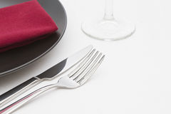 Black plate place setting Royalty Free Stock Photos