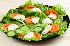 Black Plate with vegetables. Green salad, cheese, and egg on a light napkin royalty free stock images
