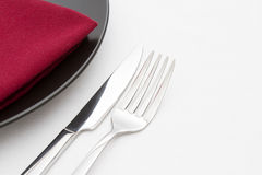 Free Black Plate With Knife And Fork Stock Photography - 30409962