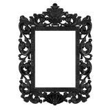Black Plated Wooden. Baroque picture frame to put your own pictures in Stock Photo