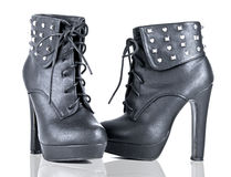 Black Platform Booties Studded Heel Stock Photos