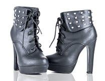 Black Platform Booties Studded Heel Stock Photos