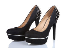 Black platform shoes Stock Photography