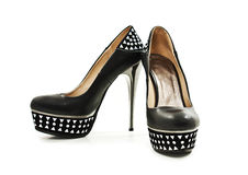 Black platform shoes Royalty Free Stock Image